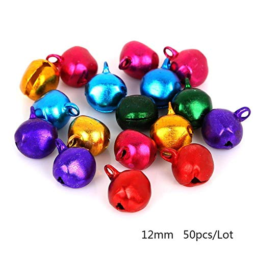 6mm-14mm mix kleuren losse kralen kleine jingle bells voor festival party decoratie/kerstboom decoraties (30-200pcs), 12mm 50st