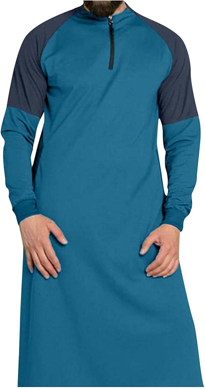 FORUU Men's Muslim Patchwork Robe 2021 Winter Plus Size Ethnic Style Muslim Patchwork Robe Jubba Thobe Pillover Coat