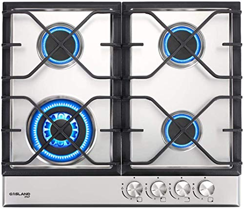 24' Built-in Gas Cooktop, GASLAND Chef GH60SF 4 Burner Gas Hob, 24 Inch NG/LPG Convertible Natural Gas Propane Cooktops, High Power Burner Gas Stovetop with Thermocouple Protection, Stainless Steel