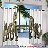 Jktown Kids Thermal Insulated Blackout Curtains Dinosaurs T Rex Jurassic 3D Dino Fossil Art Design History for Patio/Front Porch 108x108 INCH,