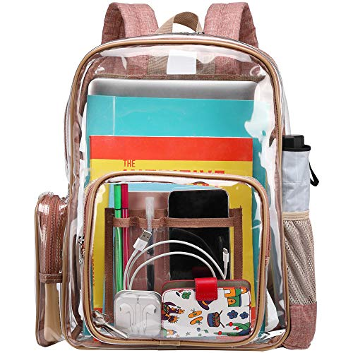 Clear Backpack, Packism Heavy Duty Clear Backpack with Reinforced Straps Waterproof Transparent Backpack with Laptop Compartment Large Clear Plastic Backpack for School, Work, Security, Caramel Colour