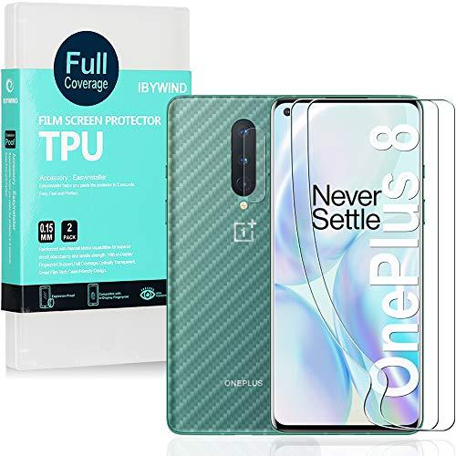 Ibywind Pellicola Protettiva Trasparente in TPU per OnePlus 8,[2 Pezzi]con Protezione Obiettivo Fotocamera,Pellicola Protettiva Retro,Compatibile con
