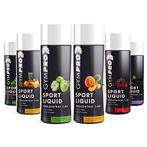 GymPro - Sport Liquid Lower Carb Drink (6 x 250ml Probierpaket), 6 Flaschen Probierset, mit verschiedenen Geschmäckern - Sirup Konzentrat in Flasche mit L-Carnitin, Magnesium und Vitamin für Fitness