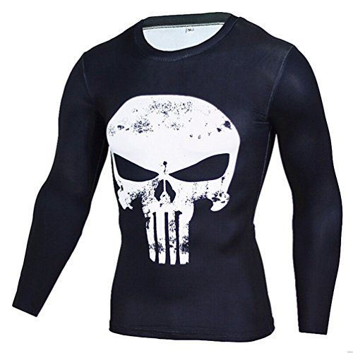 YiJee Uomo Manica Lunga Tops Asciugatura Veloce Elasticità Maglietta Sportivi Fitness Compressione T-Shirt Bianca L