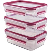 Emsa 515582 Clip & Close Colour 3-piece set of food storage containers 0.55 litres, transparent/raspberry