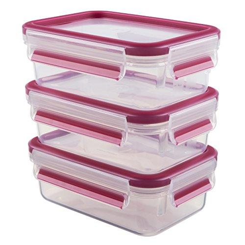 Emsa Clip & Close Set de 3 recipientes de 0.55 L, Transparente y Rosa, 3 x 0,55 L