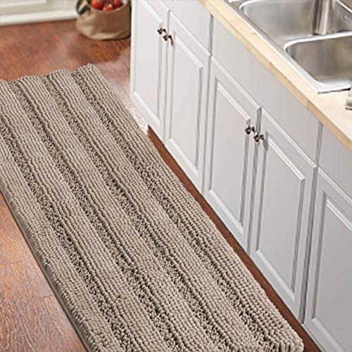 Non-Slip Bath Runners for Bathroom Luxurious Chenille Area Rug for Kitchen Machine Washable Bath Mats for Door Mats/Tub,Size 59x20 Inch, Taupe