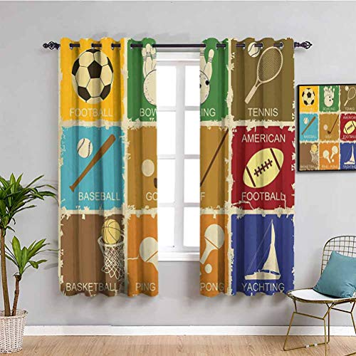 Sports Decor Thermal Insulated Room Darkening Curtains Set of Vintage Various Sports Elements Golf Bowling Baseball Tennis Icons in Flat Design Print Repeatable use W63 x L45 Inch Multi