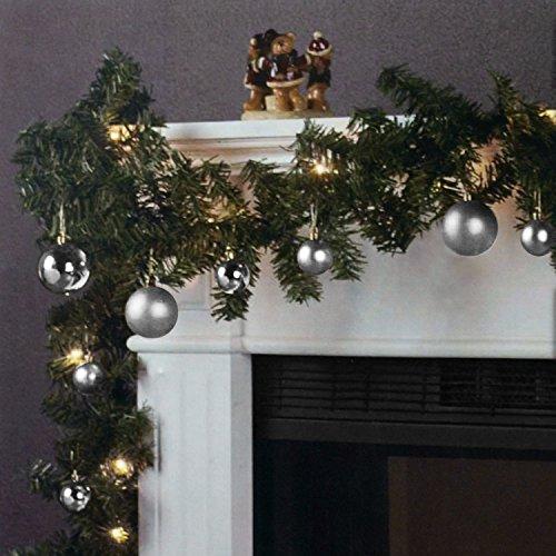 Wohaga Weihnachtsgirlande Tannengirlande Lichterkette 270cm 180 Spitzen 20 Lampen 16 Kugeln Silber
