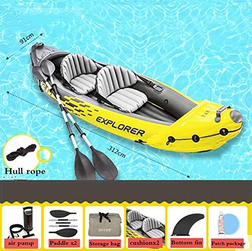 Canoë Explorer Kayaks Gonflables Kayak De Mer A Pedale Bateau De Pêche Spécial en Mer Matériau PVC Épaissi pour Piscine Extérieure Canoë De Sécurité,312X91x51cm