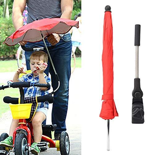 Yisenda Parasol del Cochecito de bebé, Paraguas Plegable al Aire Libre de la sombrilla del Cochecito, para Las Bicicletas de los cochecitos(Red Umbrella)