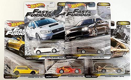 Hot Wheels Fast & Furious Fast Tuners 5 Car Set (Honda Civic EG, Mazda Rx-7 FD, Subaru WRX, Nissan Silvia, 240SX) - HW Premium RR 1:64