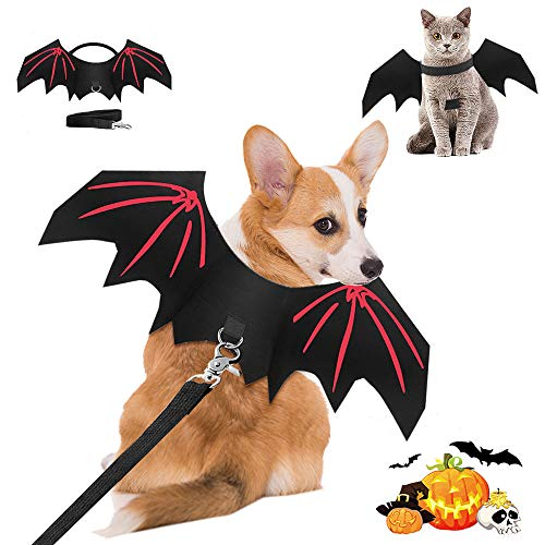 Tianxiong Disfraz de alas de murciélago de Gato, alas de Perro Mascota, Ropa de Gato de Halloween, Disfraz de murciélago de Gato, Disfraz de alas de murciélago de Halloween para Mascotas