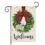 Hexagram Boxwood Wreath Christmas Welcome Garden Flag,Burlap Garden Flag Double Sided Winter Valentines Day Buffalo Plaid Bow Yard Ourdoor Decor,Small Garden Flag 12x18 Prime