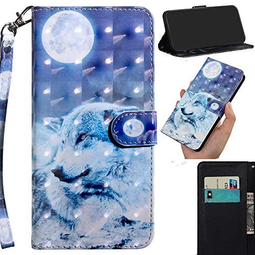 DodoBuy 3D Hülle für Asus Zenfone Max Pro M2 ZB631KL, Flip PU Leder Schutzhülle Handy Tasche Brieftasche Wallet Hülle Cover Ständer mit Kartenfächer Trageschlaufe Magnetverschluss - Wolf Mond