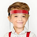 UpShield 12 Packs Reusable Premium Face Shields for Children, High Impact Tapered Material, Clear Protective Visor, Full Face Covered - New Kids Version (pure red)