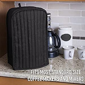 RITZ Polyester / Cotton Quilted Stand Mixer or Coffee Maker Appliance Cover, Dust and Fingerprint Protection, Machine Washable, Black