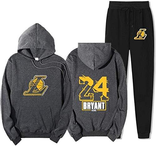 BAIDEFENG Traje de suéter de Baloncesto para Hombre Lakers Kobe # 24 Pantalones de Jogging de Gimnasio Pantalones Casuales Joggers Traje Deportivo Ropa de Vestir Traje con Bolsillos-Grande