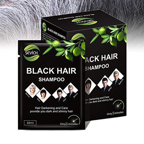 Champú para cabellos negros - Sevich Tinte para cabellos negros al instante, champú para cabellos con ingredientes naturales, 5 minutos para cubrir las canas