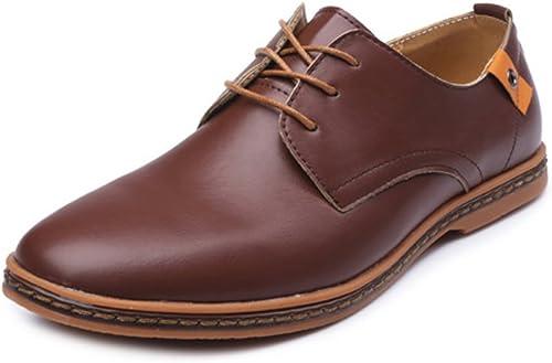 SRY-chaussures Mocassins de Grande Taille pour Hommes en Cuir Cuir PU Vamp Lace Up Affaires Oxfords Stud Decor (Couleur   Marron, Taille   11.5MUS)  bonne réputation