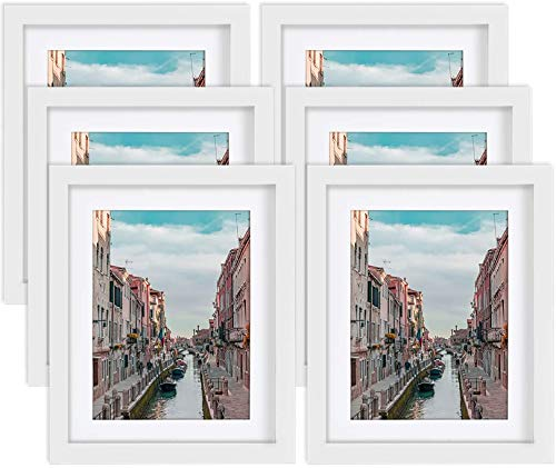 8x10 White Picture Frames Nature Solid Wood 6 Pack for Wall Mounting and Tabletop Display