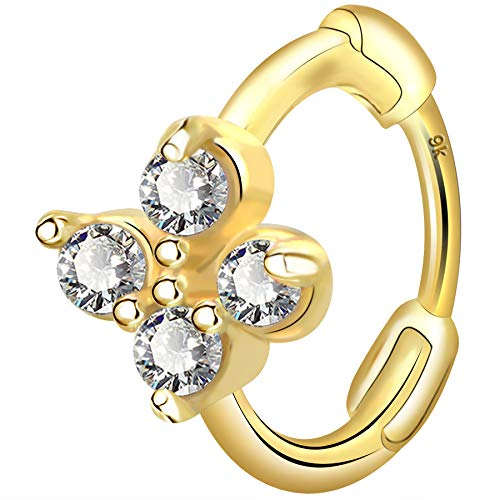 OUFER 9K Solid Gold Cartilage Earring 20G 0.8mm Forward Helix Piercings Nose Ring Hoop Daith Tragus Snug Rook AAA+ CZ Crystal Ear Huggies Jewellery Gifts for Women