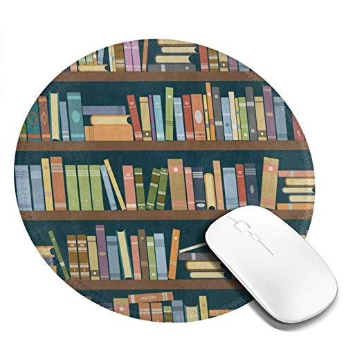 Alfombrilla de ratón Redonda para estantería en la Biblioteca Bookworm, Alfombrilla de ratón para Ordenador portátil, Antideslizante, Mini Alfombrilla de ratón para Juegos de círculo pequeño y Bonita