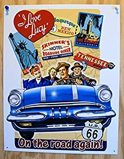 On The Road Again I Love Lucy Tin Sign New Mexico Tennessee Metal Wall Signs Hall Garage Poster TIN Sign 7.8X11.8 INCH