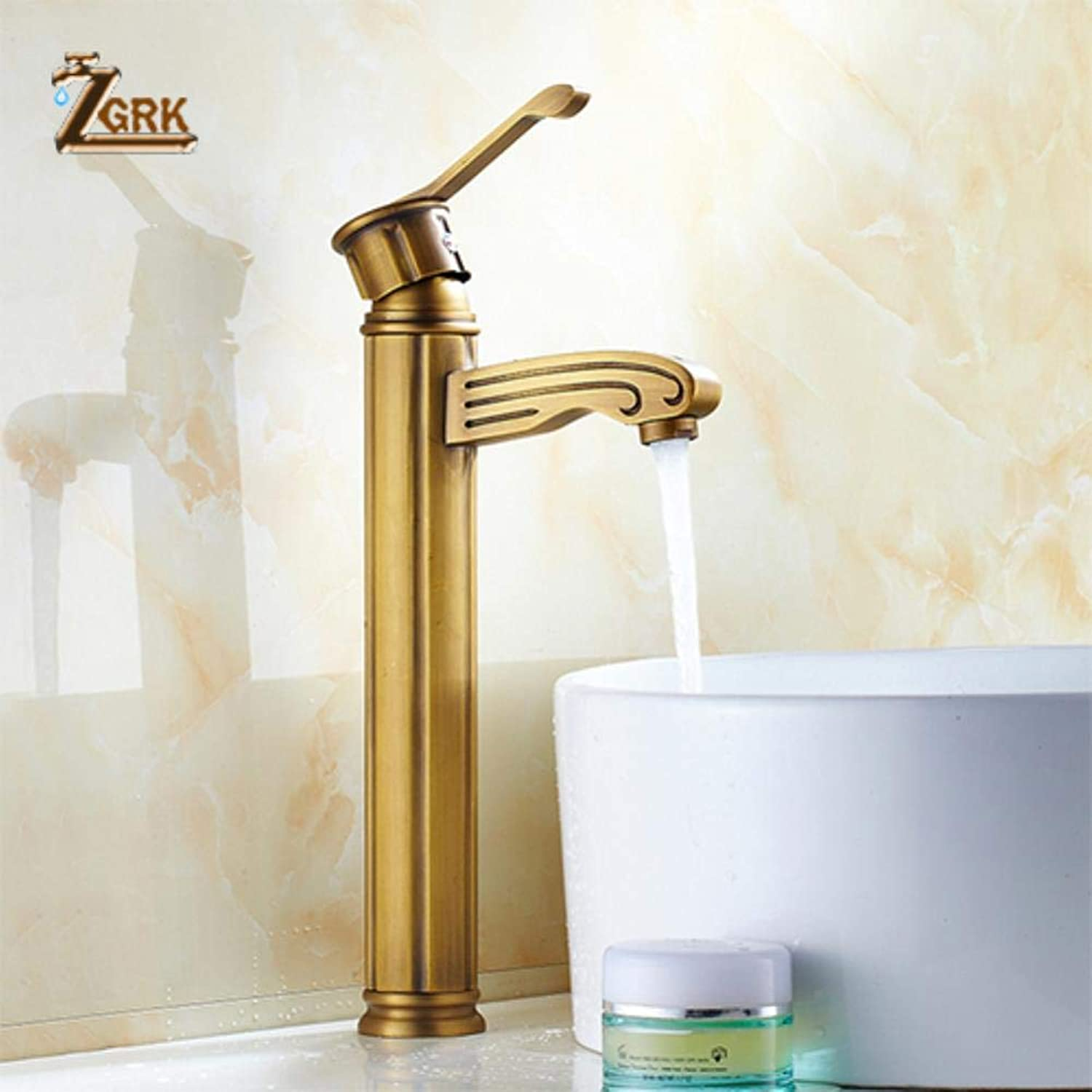 ZGRK Vintage Antique Brass redary Single Level Single Hole Kitchen Sink Mixer Tap Bathroom Sink Mixer Taps bathroom furniture fitting A-176