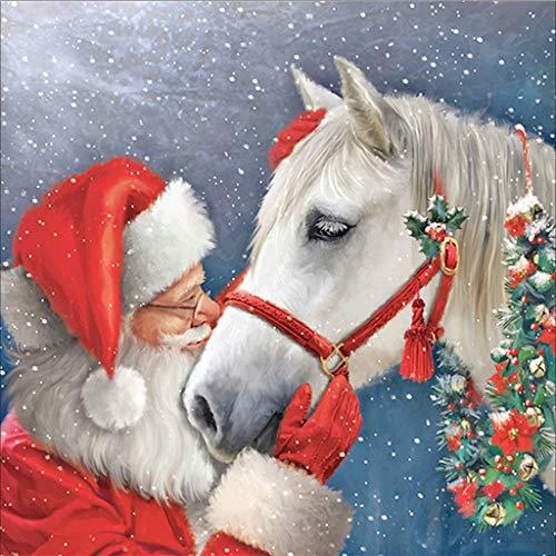 Weihnachtsmann Pferd DIY 5D volle Bohrgerät-Diamant-Malerei Stickerei Kreuzstich Kit