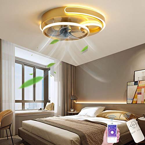 Ventilador de Techo Con Iluminación, Plafón LED de 50 W, Velocidad Del Viento Regulable, Atenuación Por Control Remoto, Para Dormitorio Oficina Dormitorio Infantil, Ø50CM