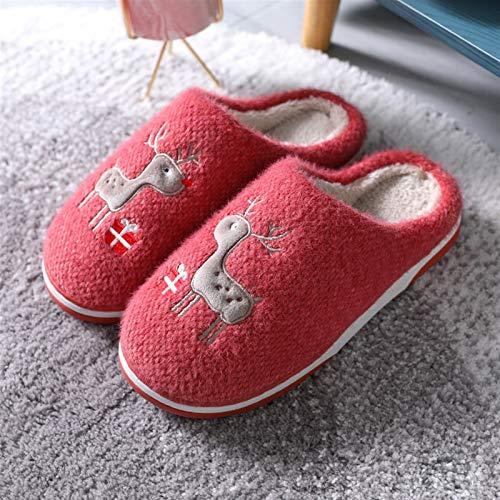 Syczdntx Nuevas zapatillas de algodón de dibujos animados lindo súper suave zapatillas de hogar zapatillas de invierno de invierno zapatillas de piso caliente antideslizante interior zapatos al aire l