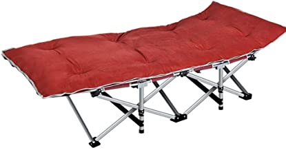 Folding Bed Single, Lunch Break Recliner Bed Simple Accompanying Camp Bed Reinforced Office Folding Bed (Color : Red)