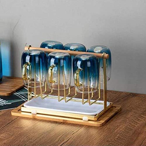 ZHIRCEKE Japanischer Stil Hängender Weinglashalter Becherhalter Drying Holder Stand Metall Glas Flasche Rack Upside-Down Kaffee Tee Cup Storage Organizer mit Kunststoff,B