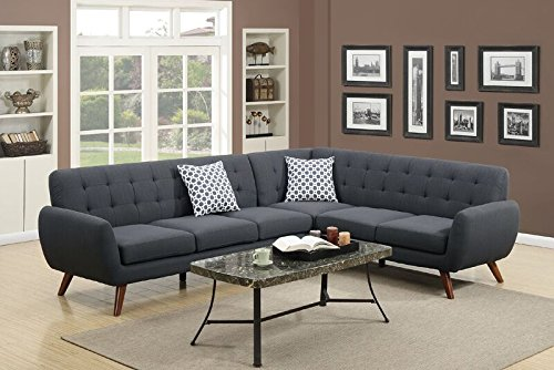 Poundex Bobkona Galiana Linen-Like Polyfabric SECTIONAL in Ash Black