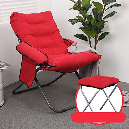 Fengyj Silla Silla Plegable del Ordenador portátil Conveniente Lazy extraíble, con el Lado Bolsa de Almacenamiento (escabel),Rojo