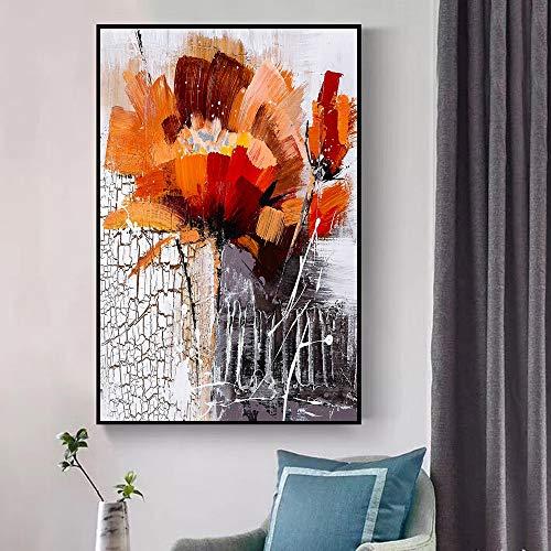 QQCYWZK Rahmenlos Abstrakte Blumen Öl NGS Druck auf Leinwand Kunst Poster und Drucke Moderne Blumen Wandbilder für Wohnzimmer Cuadros 50x70cm