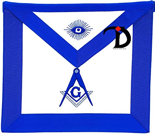 DEURA Masonic Blue Lodge Master Mason Synthetic LEATHER Apron EMBROIDERED Square & Compass 16' x 14'