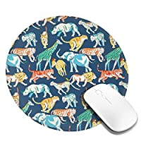 丸型マウスパッド ゲーミングマウスパッド カートゥーン動物プリント おしゃれ オフィス自宅兼用 滑り止めゴム底 耐洗い表面 厚地 精密度アップ 光学式マウス対応 20*20cm 厚さ3mm
