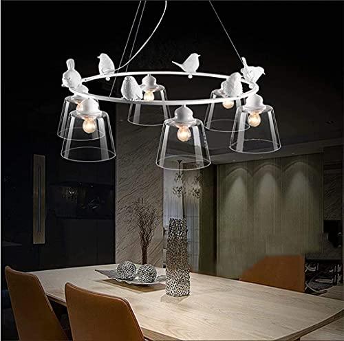 Lámpara colgante de techo de vidrio de 6 luces, lámpara de araña de resina moderna con decoración de pájaros, patio, balcón, dormitorio, accesorios de iluminación...