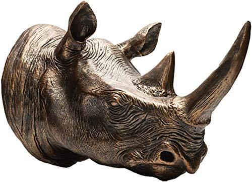 Escultura De La Cabeza De Rinoceronte, Decoración De La Pared De La Cabeza Animal, Faux Taxidermy Resina Figurillas Artesanía Artesanales Regalo para Sala De Estar Sala De Estudio Sala De Comedor