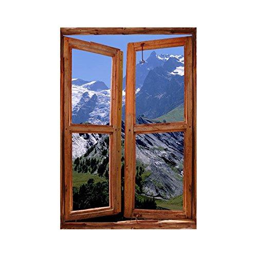 Stickers trompe l'oeil fenêtre les Alpes - L 60cm x H 90cm