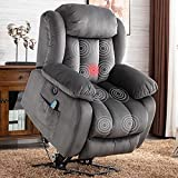 ANJ Electric Massage Power Lift Recliner Chair Sofa with Heat & Vibration for Elderly, Heavy Duty and Safety Motion Reclining Mechanism - Antiskid Fabric Sofa Contempoary Overstuffed Design (Grey)