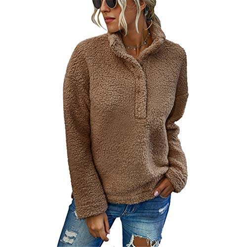 ZFQQ Fall/Winter Fashion Women's Solid Color Stand-up Collar Plush Sweater