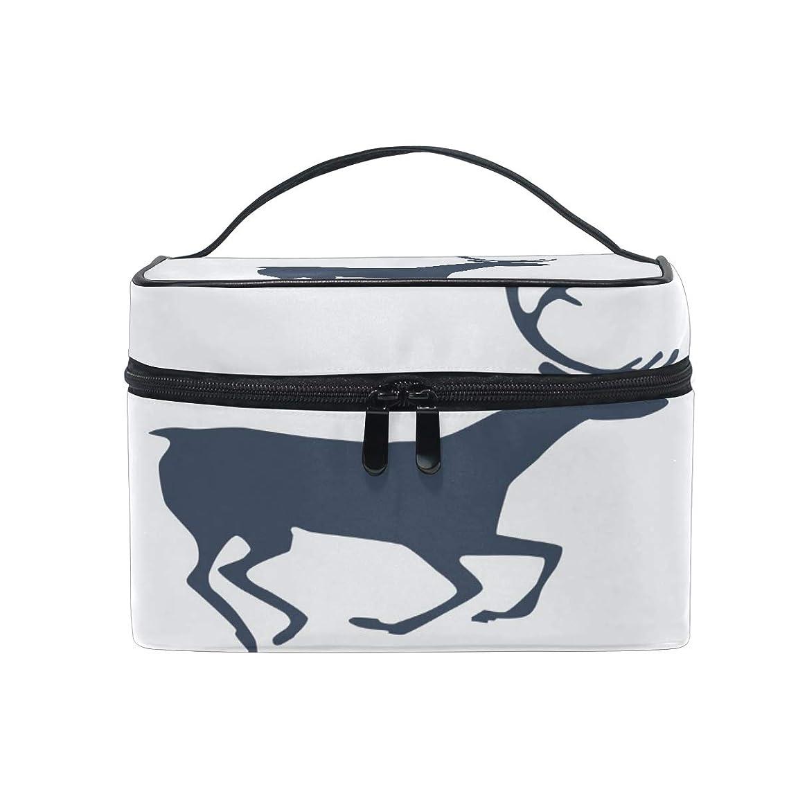 実質的に戦術崇拝しますユキオ(UKIO) メイクポーチ 大容量 シンプル かわいい 持ち運び 旅行 化粧ポーチ コスメバッグ 化粧品 鹿 アイコン レディース 収納ケース ポーチ 収納ボックス 化粧箱 メイクバッグ