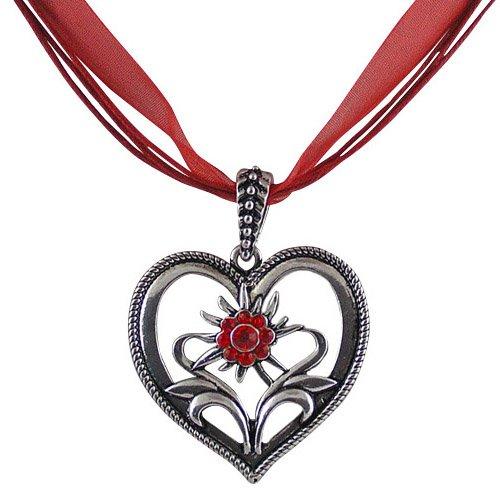 Rustikale Trachtenschmuck Dirndl Herz Edelweiss Anhänger-Kette mit Light Siam roten Strasskristallen