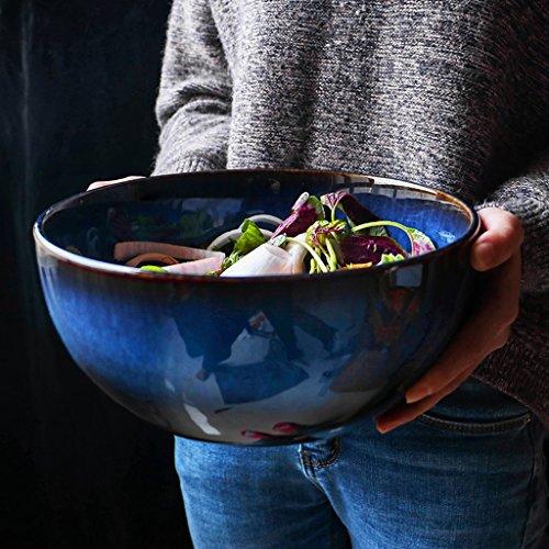 Vintage Farbverlauf blau Keramikschale kreative Home Besteck Ramen Suppenschüssel große Schüssel