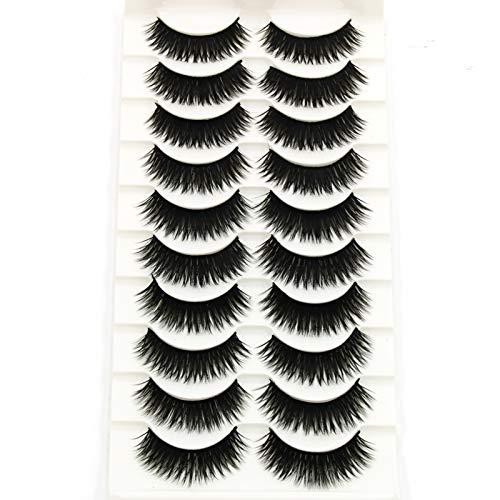 Faux cils 10 Paires 3D épais Longs, Extension De Maquillage D'aspect Naturel Noir épais Performance Quotidienne De Scène