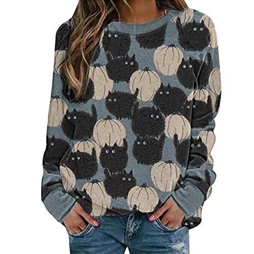 Sweatshirt mit Katzenmotiv, Halloween-Druck, für Frauen, Rundhalsausschnitt, lässiges T-Shirt, langärmlig, Katze, schwarz, Tunika