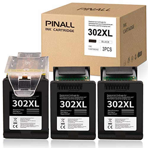 PINALL Cartucce d'inchiostro compatibili HP 302XL 302 XL Per HP DeskJet 3630 3639 OfficeJet 3831 3830 3833 OfficeJet 5230 5232 4655 4650 Envy 4525 4520 Stampante (1+2 nero)